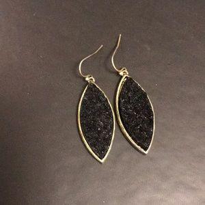 Rough black gemstone hook earrings- like new